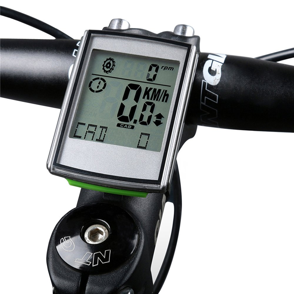 YHOUSE Measuring Cadence Bike Computer Cycle Odometer Speedometer for Bicycle - Weatherproof LCD Backlight Display Automatic Wake-up Wireless Cycling Computers with Heart Rate Monitor Straps