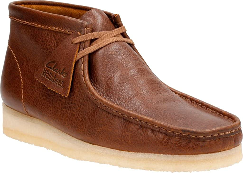 Tan Tumbled Leather Clarks - Bottines Wallabee démarrage Homme