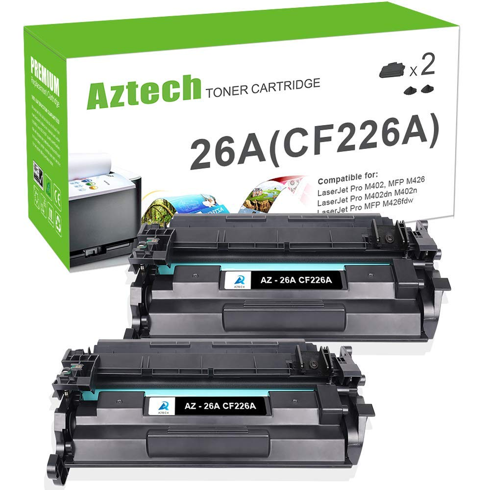 Aztech Compatible Toner Cartridge Replacement for HP 26A CF226A 26X CF226X (Black, 2-Packs) by Aztech