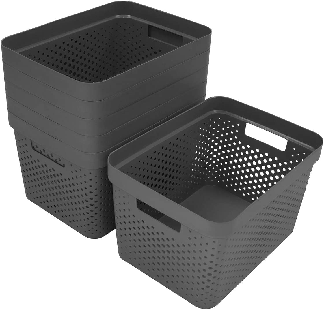 Glad Plastic Storage Basket Set, Bulk Pack of 6 | Kitchen, Pantry, Closet, Bathroom Bins | Home Organization Containers for Shelves | Room Essentials, 4 Gallon, Gray