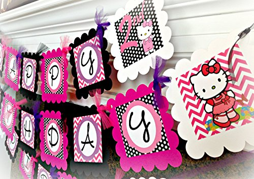 PARTY PACK SPECIAL - Hello Kitty Inspired Happy Birthday Collection - Hot Pink Chevron, Black Polka Dots & Purple and White Accents - Party Packs Available -