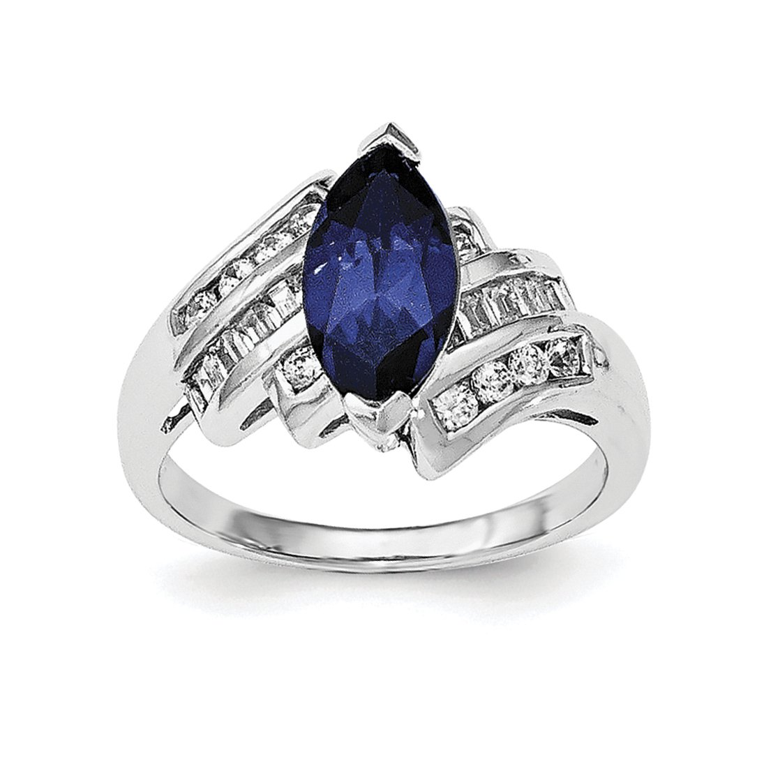 ICE CARATS 925 Sterling Silver Synthetic Blue Sapphire Cubic Zirconia Cz Marquise Band Ring Size 7.00 Gemstone Fine Jewelry Gift Set For Women Heart