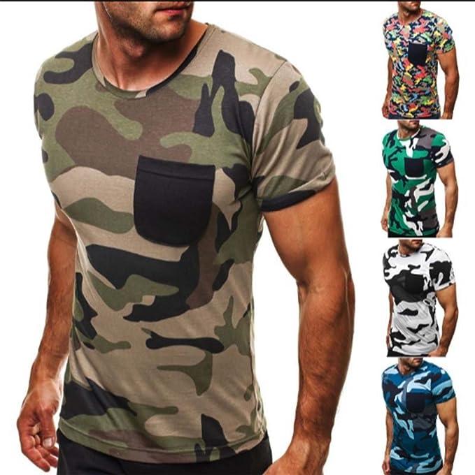 2be8cc49eb14 Mode Persönlichkeit Camouflage Herren Casual Slim Kurzarm-Shirt  Amazon.de   Bekleidung