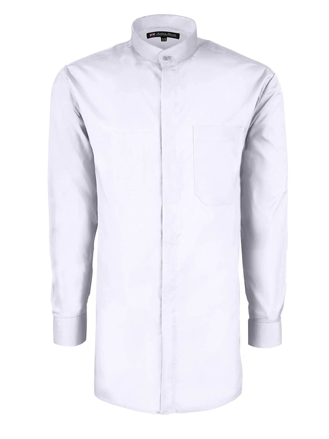 1920s Men's Dress Shirts  Long-sleeve Banded Collar Shirt - Many Colors Available $18.99 AT vintagedancer.com