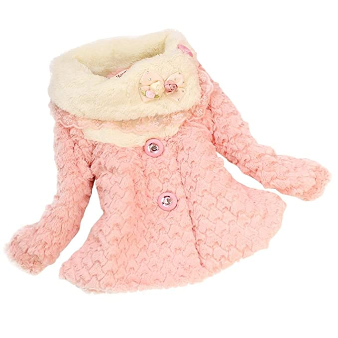 a4d1433cfe87 Amazon.com  Napoo Baby Girls Kids Toddler Faux Fur Collar Lace ...