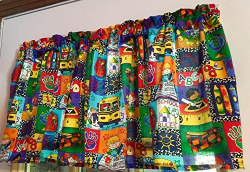 Red Blue Green Yellow School Bus Classroom Crayons WINDOW CURTAIN VALANCE HandMade in the USA from COTTON (Classroom Curtains)