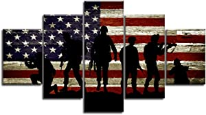 """Large Size USA US American Flag Military Soldier Army Wall Art Canvas Print Thin Red Line Home Decor Decal Pictures for Living Room Bedroom 5 Panel Poster Painting Framed Ready to Hang(70""""Wx40""""H, 26)"""