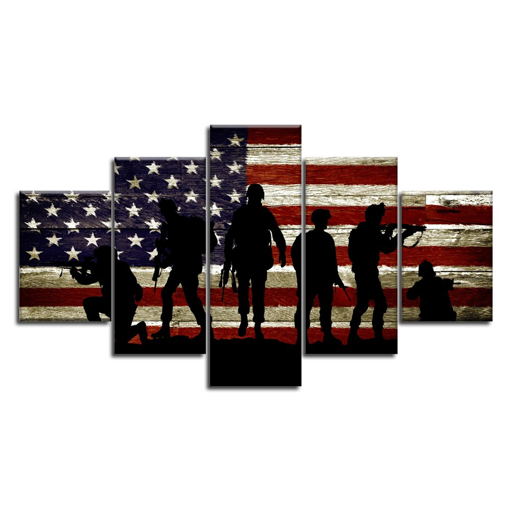 USA US American Flag Military Soldiers Army Wall Art Canvas Prints Thin Blue Red Line Home Decor Pictures for Living Room Bedroom 5 Panel Large Poster Painting Framed Ready to Hang (60''Wx32''H, 26)