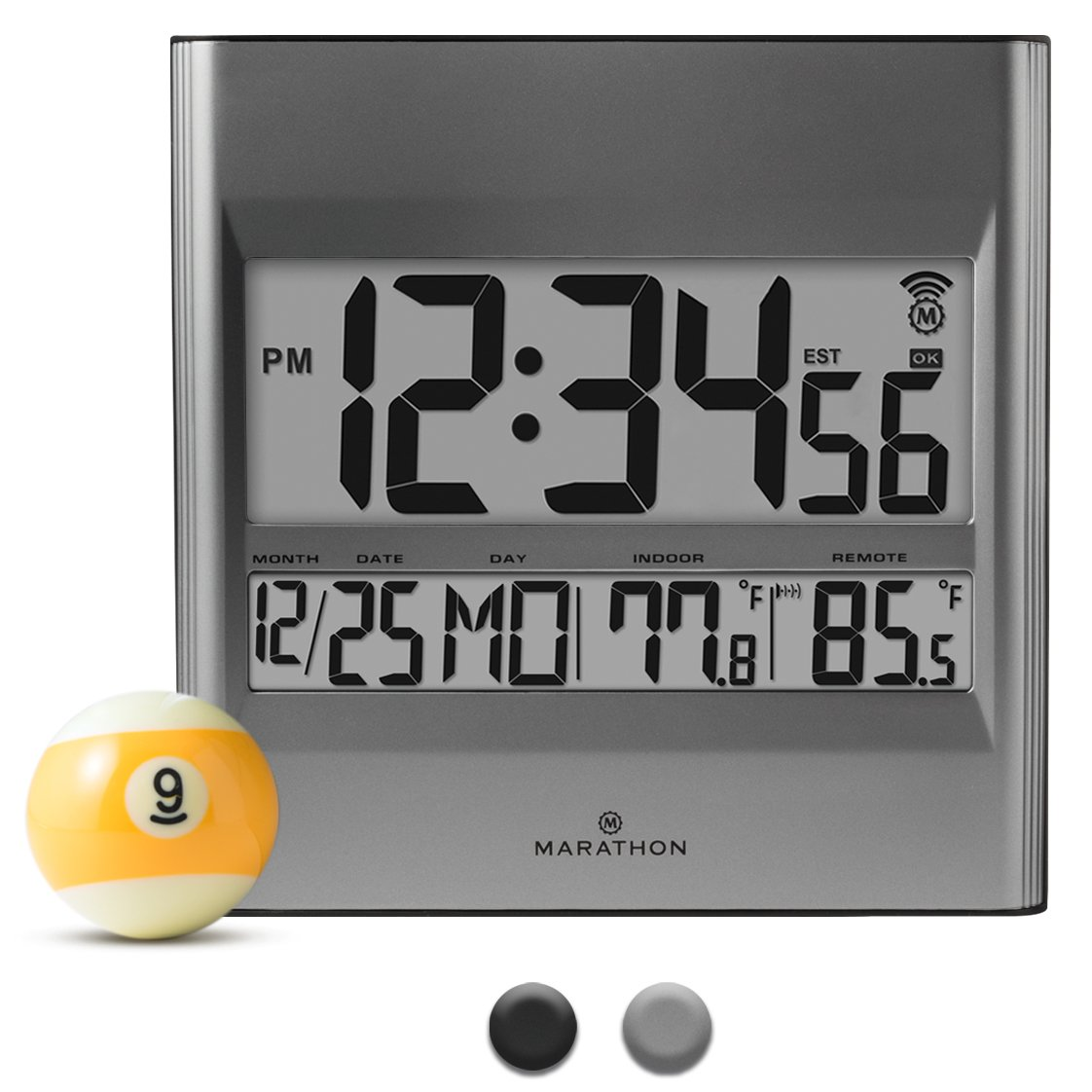 Amazon marathon cl030027 atomic wall clock with 8 timezones amazon marathon cl030027 atomic wall clock with 8 timezones indooroutdoor temperature date in silver batteries included home kitchen amipublicfo Choice Image