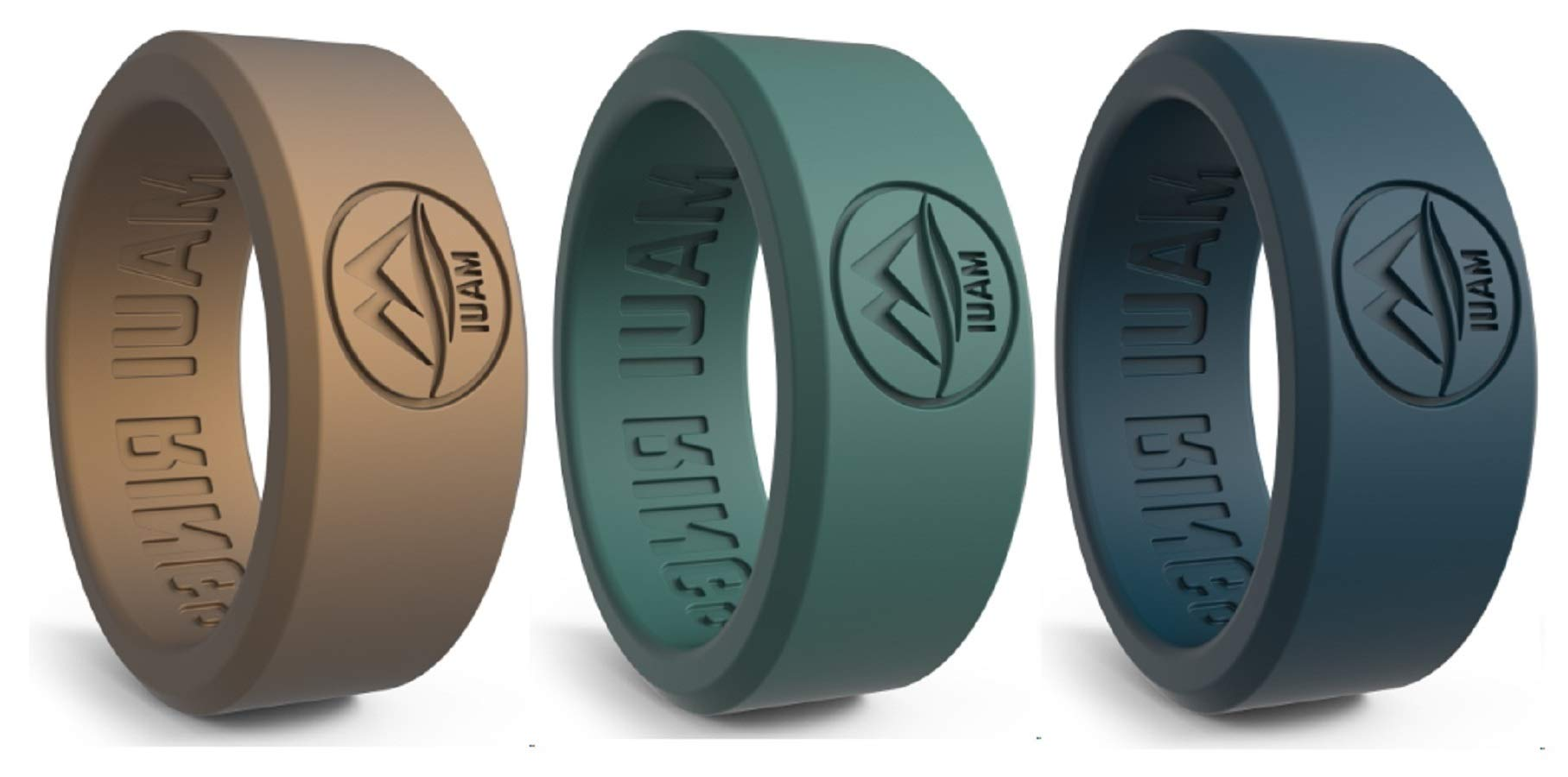 MAUI RINGS BEST Silicone Wedding Ring by SOLID STYLE Engagement Rings Silicone Band for Men Wedding Rubber Bands Mens Ring Men Wedding Band SAFE ring Sport Gym (Gold/Blue/Green, 11)
