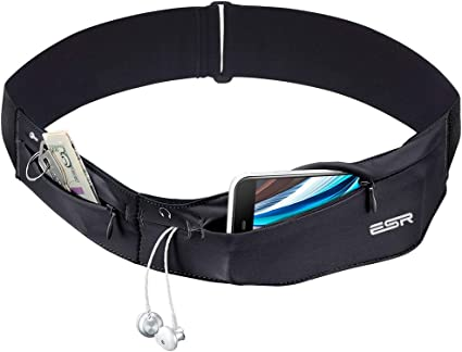 aiGear Running Belt 2 Packs Travel Waist Pack for Holding Mobile Phone Money Key Two Pockets with Zip Adjustable Waist Pouch with Headphone Hole for Jogging Climbing
