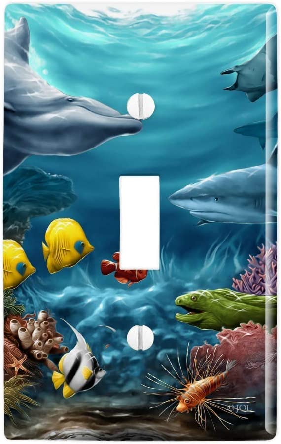 GRAPHICS & MORE Coral Reef Ocean Scene Dolphin Turtle Shark Stingray Fish Plastic Wall Decor Toggle Light Switch Plate Cover