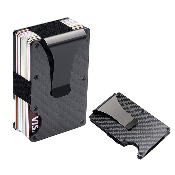 Amazon.com: Billetera de fibra de carbono con bloqueo RFID ...