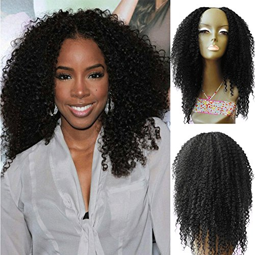 U Part Human Hair Wigs for Black Women Brazilian Kinky Curly Upart Wigs Natural Color 16 Inch 180 (London Wig)