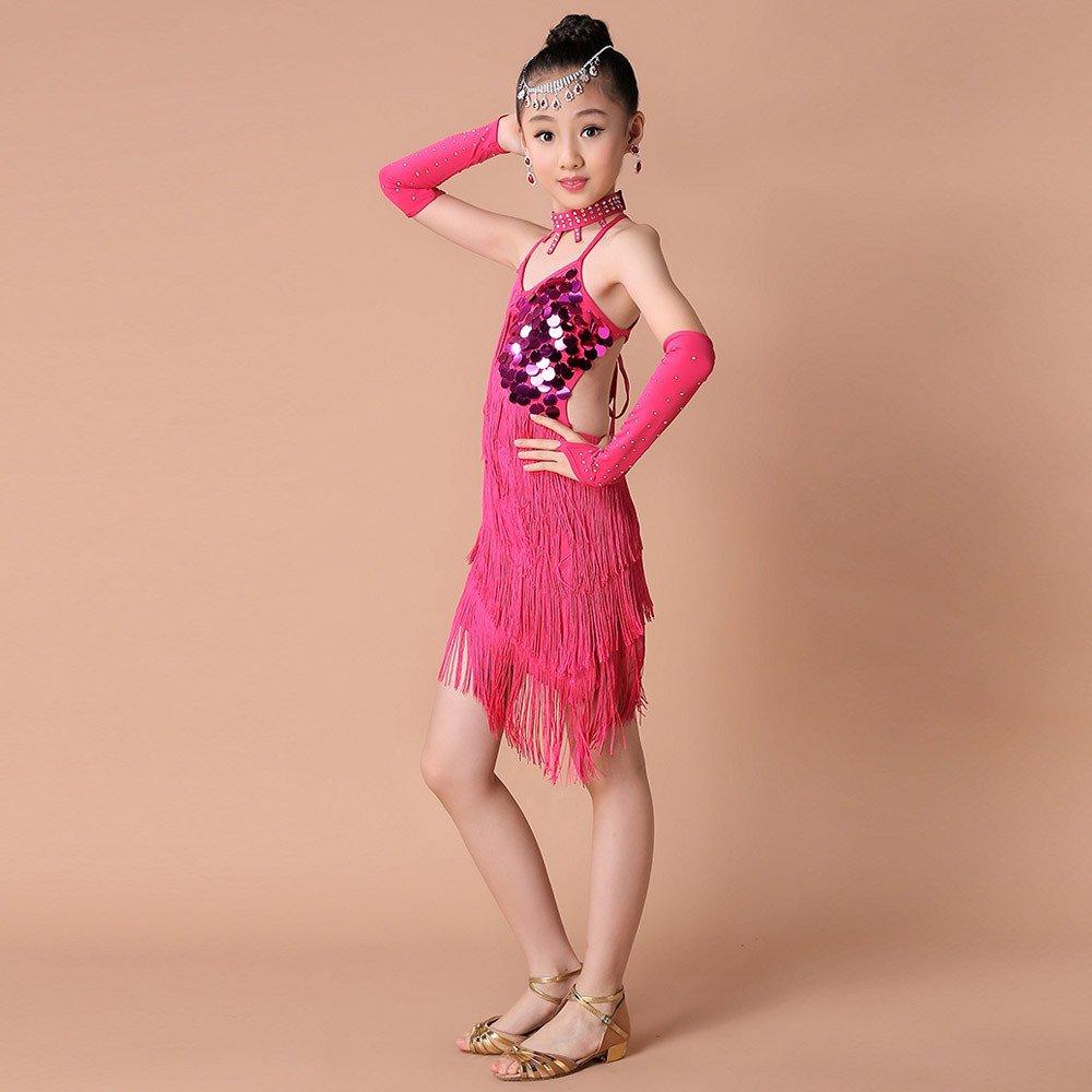 7b577e96 Ropa de Baile para Ni/ñ as Latino Vestido con Flecos de Fiesta Dancewear de Cosplay  Princesa ...