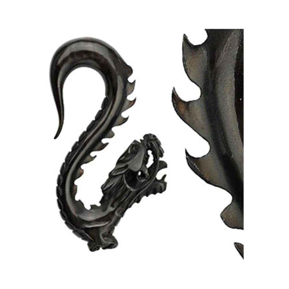 MsPiercing Hand Carved Buffalo Horn Black Dragon Taper, Gauge: 2 (6.5Mm) by Mr.Piercing