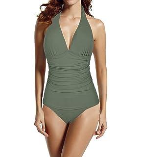 8b572dab1e Hilor Women s Halter One Piece Swimsuits Shirred Tummy Control Swimwear  Skirted Bathing Suits Monokinis