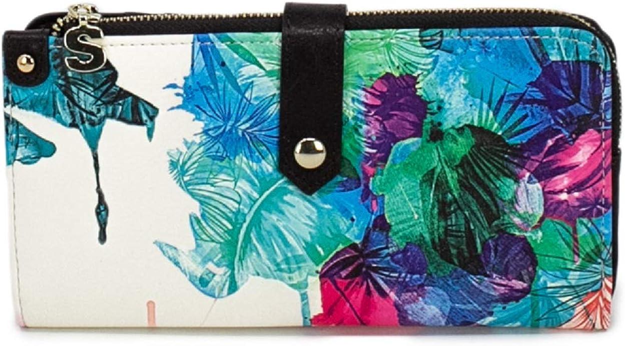19sayp54 taille 10 cm Grand portefeuille ethnique imprim/é floral femme simili cuir Isola Ester Desigual