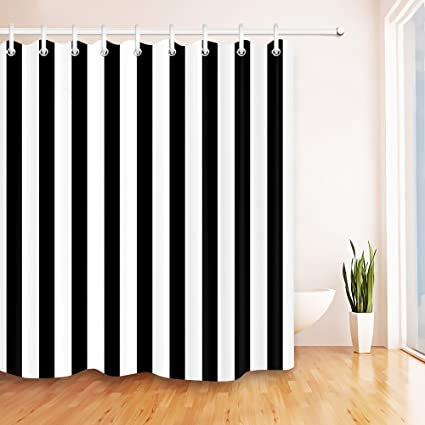 LB Black And White Shower Curtains For Bathroom 72x72 Inch Strip Curtain Set Polyester Fabric