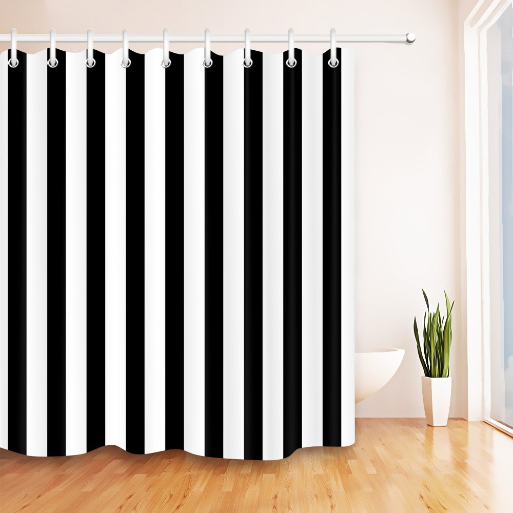 LB Black and White Shower Curtains for Bathroom 72x72 inch Strip Shower Curtain Set Polyester Fabric Bath Curtain Hooks Included Mildew Resistant Waterproof