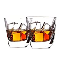 Cooko Whiskey Glasses, Luxury Transparent Glasses Set,Non-Leaded Crystal Glasses,Wine Accessories for Wine,Cocktails or Juice,Set of 2 (250ml/8.8oz)