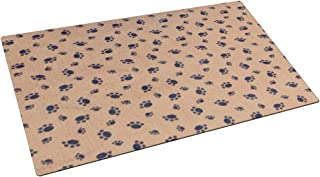 product image for Drymate Small/Medium Dog Bowl Place Mat with Paw Imprint Design, 12-Inch by 20-Inch, Tan