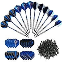 GWHOLE 12 Dardos de Plástico (18g) para Diana Electrónica, con 16Plumas y 200Dardo Suave Puntas