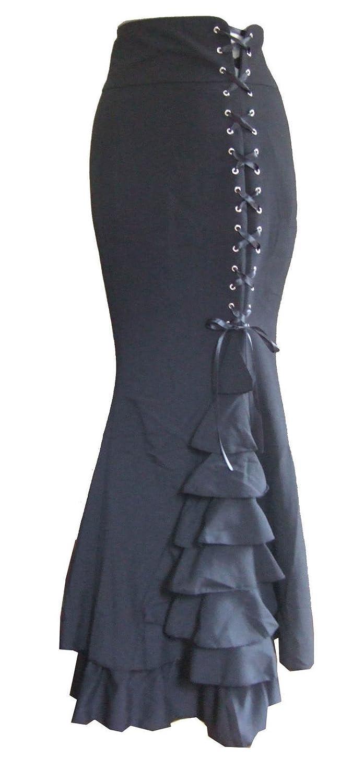 Extra Long Length Black Frilly Fishtail Black Corset Skirt. Sizes 8-28 DangerousFX