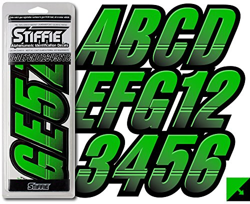 STIFFIE Techtron Electric Green/Black 3'' Alpha-Numeric Registration Identification Numbers Stickers Decals for Boats & Personal Watercraft by Stiffie