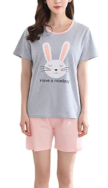 Pijamas Mujer Corto Verano Manga Corta Cuello Redondo Patrón Print Niñas Ropa Camisetas+ Shorts 2 Piezas Casual Sencillos Confort Homewear Elegante Woman ...