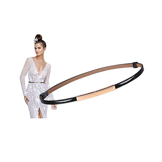 053640093ea Women Skinny Patent Leather Belts for Dresses Fashion Adjustable Thin Waist  Belt With Gold Alloy Buckle