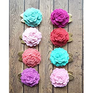16 Felt Flowers Vintage Roses with Metallic Gold Felt Leaves 109