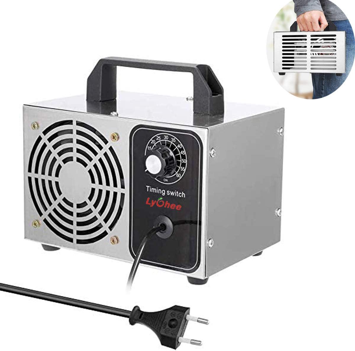 Lychee Generador de ozono Comercial Profesional,10g/h 220V Purificador de Aire de ozono móvil Ozone Machine O3 para Hogar, Oficina, Humo,Automóviles y Mascotas