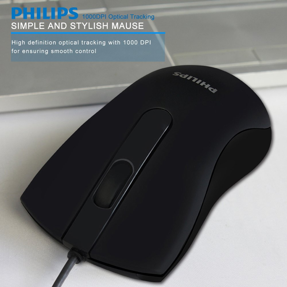 Philips USB Mouse Wired, 3 Button Optical Wired PC Computer Laptop Mouse, 1000 DPI, Ergonomic Design, Comfortable Grip, for Windows 2000, ME, XP, Vista and above, Linux, IOS - Black