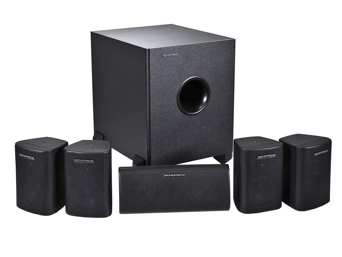 Monoprice 5.1 Channel Home Theater Satellite Speakers And Subwoofer - Black by Monoprice