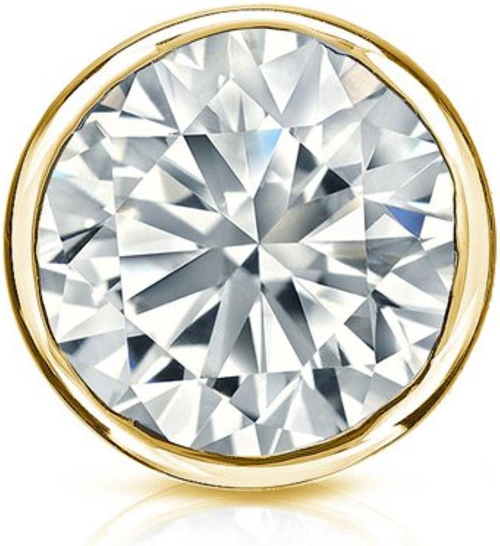 Bezel Set Screw-Back 0.08cttw, O.White, SI1-SI2 Diamond Wish 18k Gold Round SINGLE Diamond Stud Earring