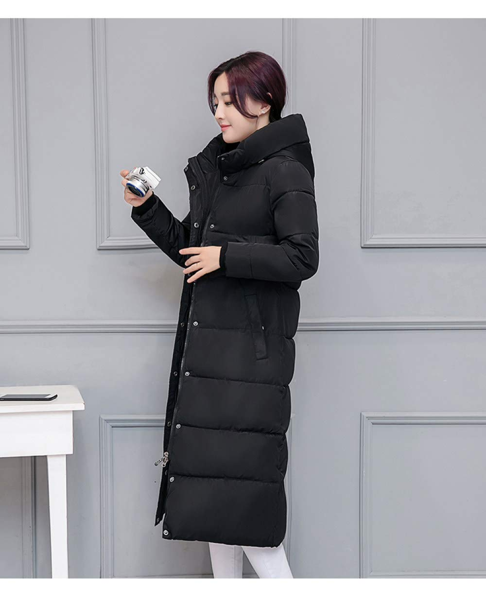 YIHANYI Doudoune Manteau Parker Dames d'hiver Doudoune en Coton Veste Fashion Manteau Long Manteau Veste Noir