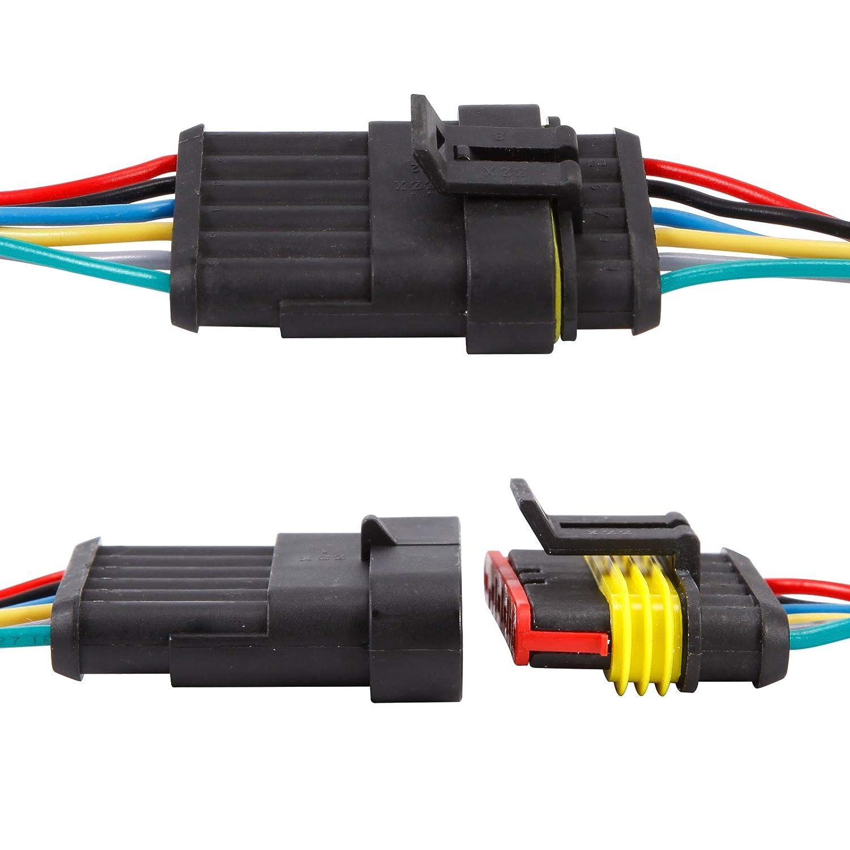 Anladia 10 Set 6-polig Steckverbindung Superseal Stecker Schnellverbinder Wasserdicht Auto KFZ LKW Boot mit Kabel
