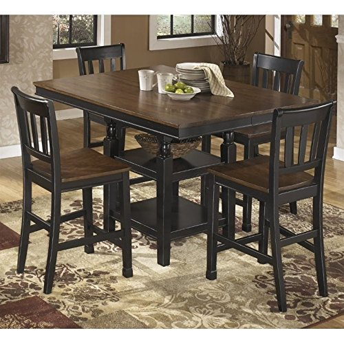 Ashley Owingsville 5 Piece Counter Height Dining Set in Brown