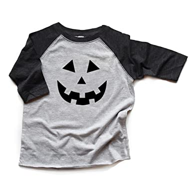 0477b99fde2 Image Unavailable. Image not available for. Color  Pumpkin Face Raglan  Shirt Toddler Boy Girl Baby Bodysuit ...