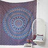 Indian Blue Tapestry Hippie Mandala Bohemian Psychedelic Intricate Elephant Design Indian Bedspread Magical Thinking Tapestry Queen Size Large Wall-tapestry-for-bedroom (84'' X 100'')
