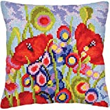 RTO Red Poppies II Collection D'Art Stamped Needlepoint Cushion Kit, 40 x 40cm