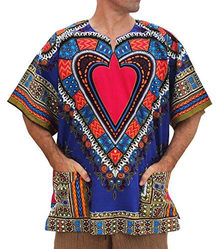 RaanPahMuang Brand Unisex Bright African Heart Dashiki Cotton Shirt