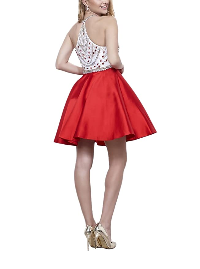 1dc9a79d87f DarlingU Women s Beaded White Red Halter Prom Homecoming Dress Rbinestone  DHC110 at Amazon Women s Clothing store