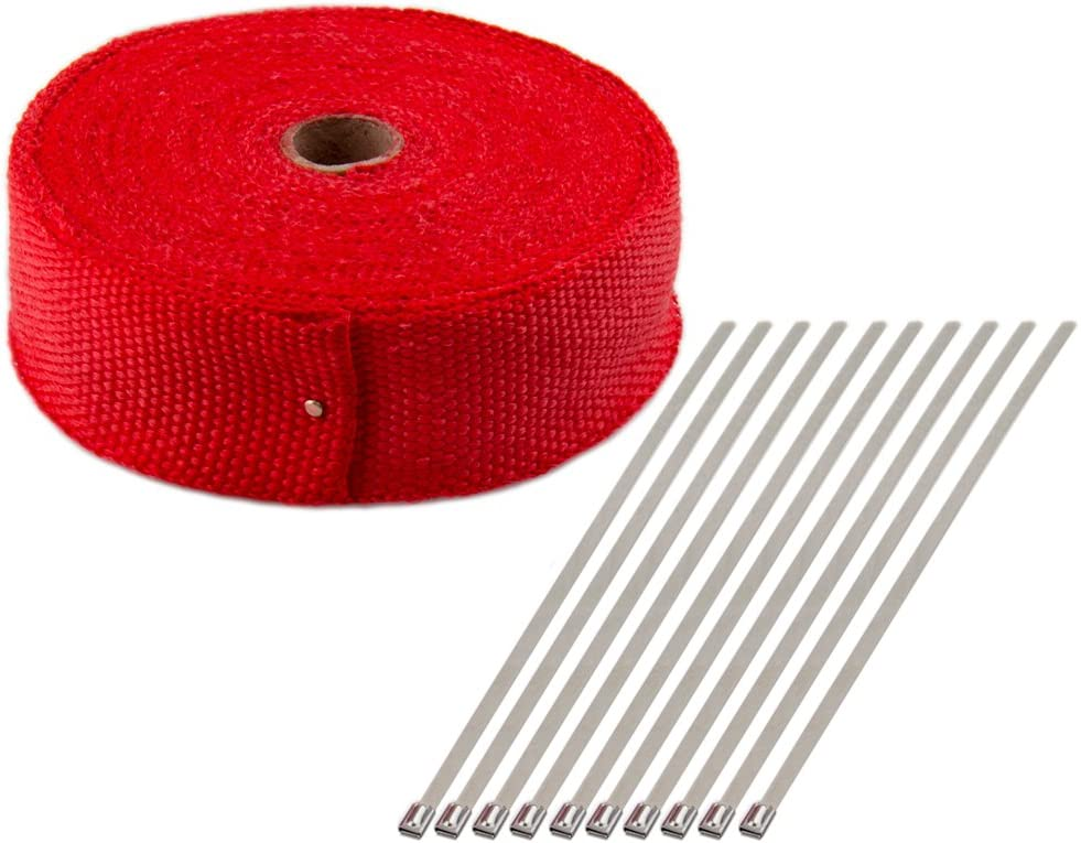 Titanium 5CM x 15M Fiberglass Heat Shield Tape for Car Motorcycle CarBole Exhaust Pipe Heat Insulating Wrap Tape Red High Insulation Cloth