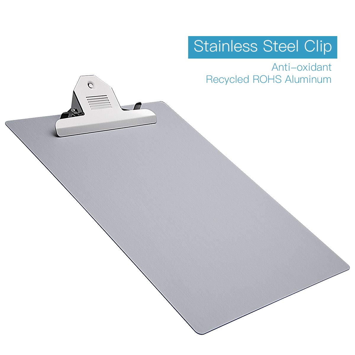 Aluminum Clipboard, Aluekey Metal Clipboard Paper Holder 9×12.6 Inches Letter Size File A4 Recycled Aluminum Holder for Office Business Steel clipboard
