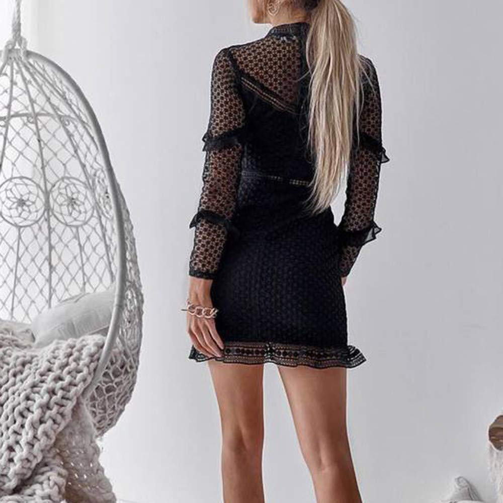 ◐OFEFAN◑ Womens Half Long Sleeve Elegant Hollow Out Party Lace A Line Mini Dress Gown Black