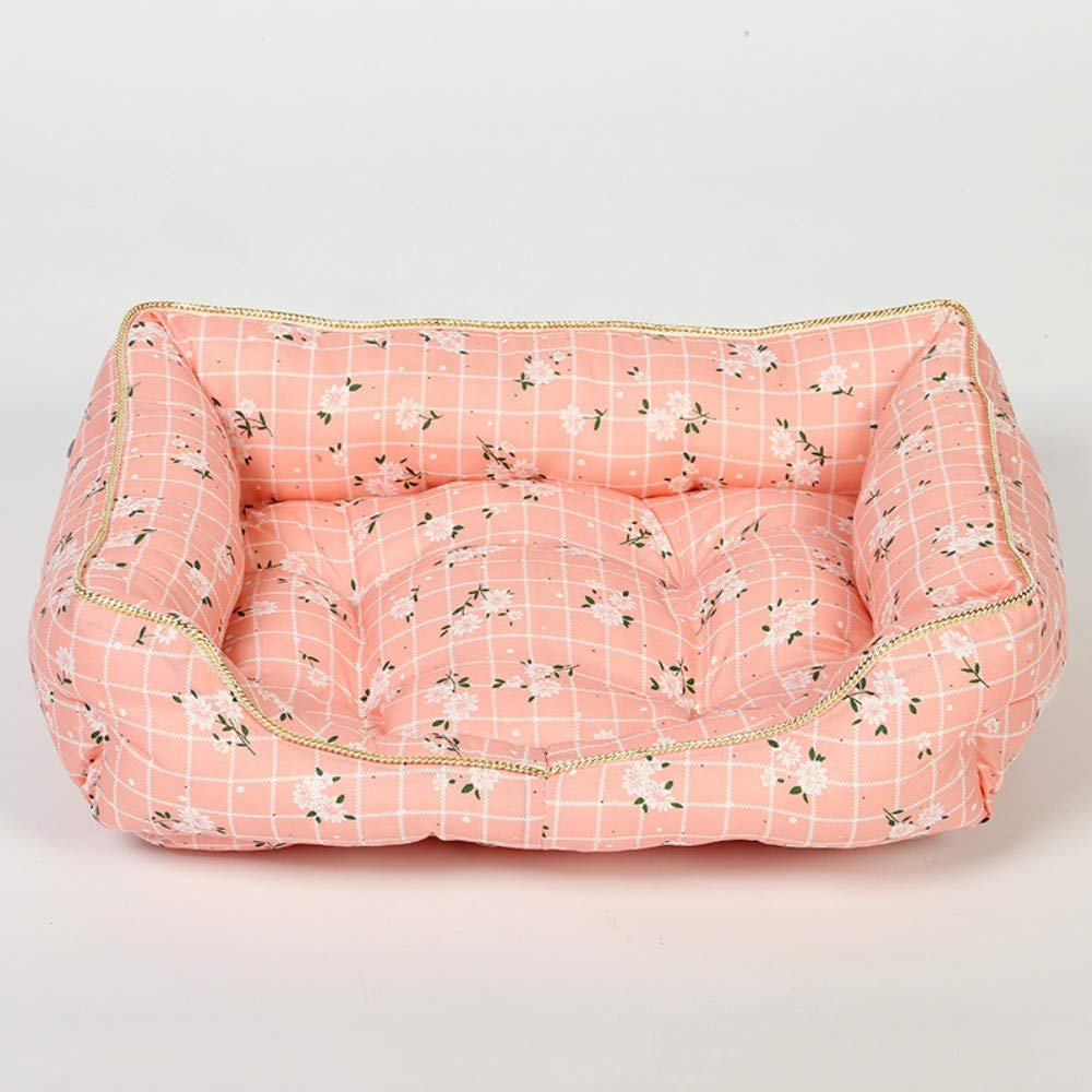 52x40cm WALSITK Clear small flower square pet nest large medium and small dogs four seasons universal kennel removable cat litter pink, 52x40cm