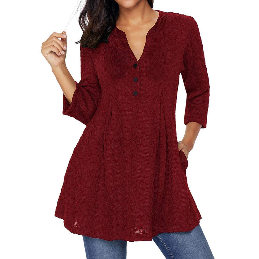 YANG-YI Womens 3/4 Sleeve V Neck Sweater Casual Button Long Shirt Tops Blouse Pullover
