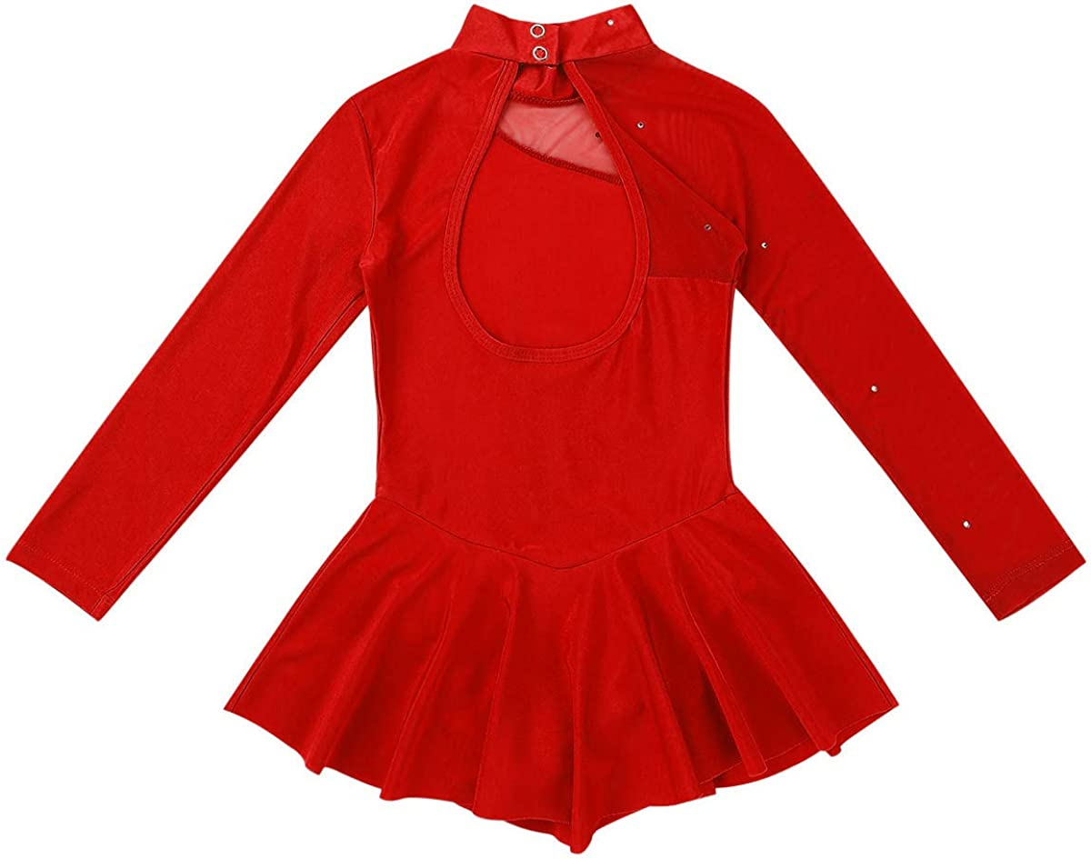 inlzdz Kids Girls Long Sleeves Ice Roller Skating Dress Keyhole Back Ballet Dance Gymnastics Leotard